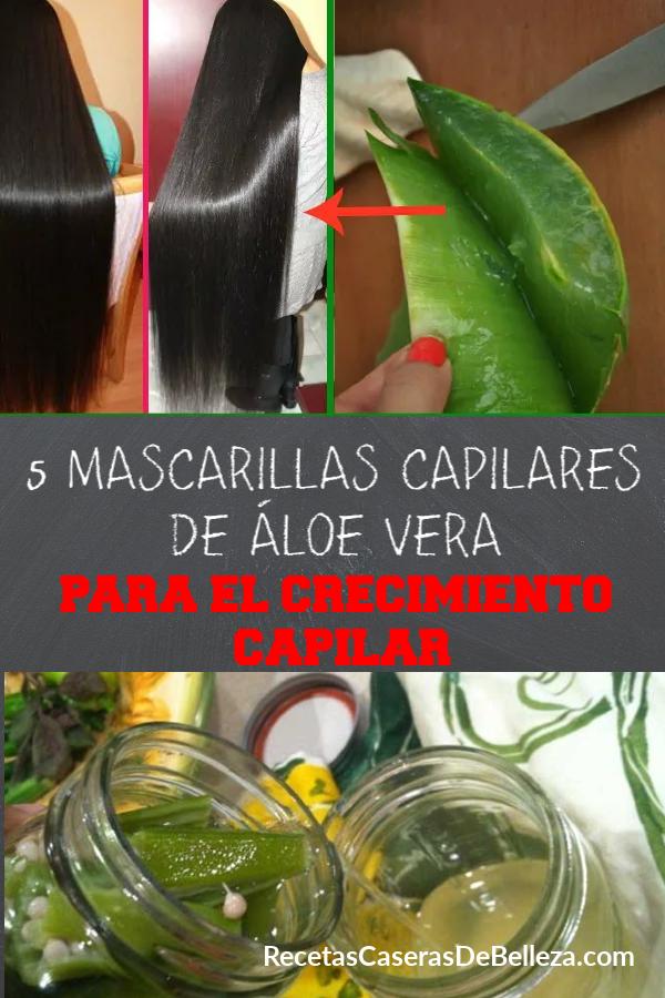 Estas 5 mascarillas capilares de aloe vera para el crecimiento capilar son súper simples de hacer y promoverán el crecimiento capilar rápido y saludable. #mascarillacapilar #recetascaserasdebelleza