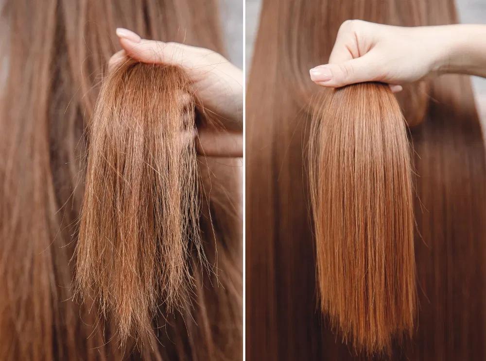 antes y despues cabello seco encrespado